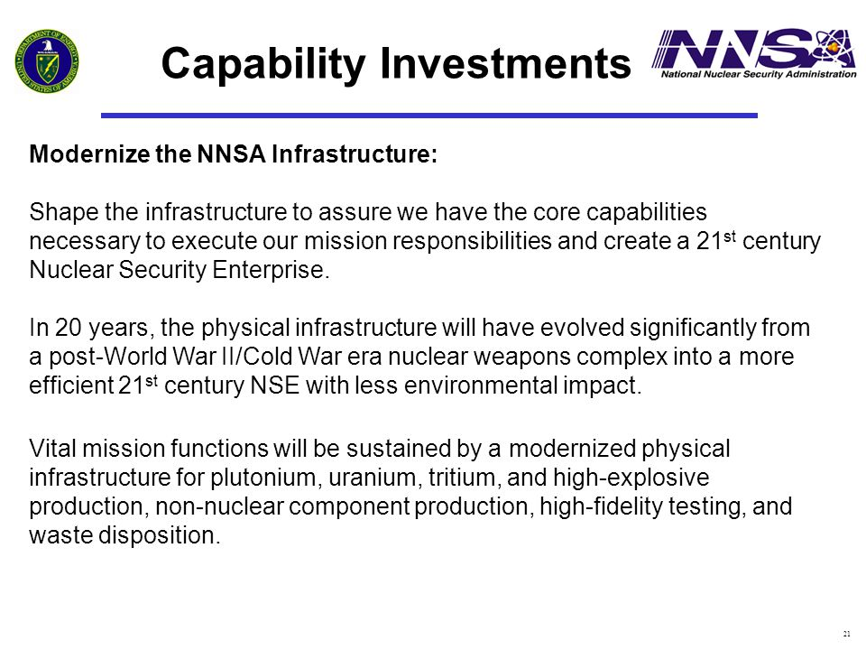 21 Capability Investments Modernize the NNSA Infrastructure: Shape the infrastructure to assure we have the core capabilities necessary to execute our