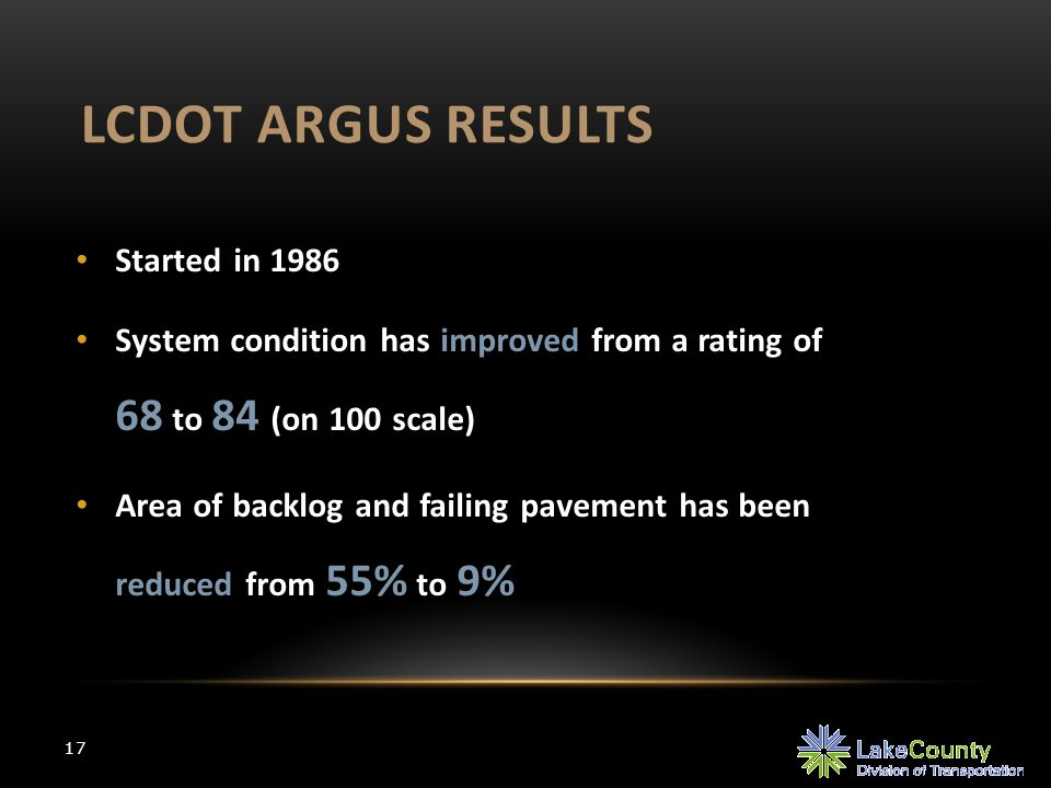 LCDOT ARGUS RESULTS 17 Started in 1986 System condition has improved from a rating of 68 to 84 (on 100 scale) Area of backlog and failing pavement has been reduced from 55% to 9%