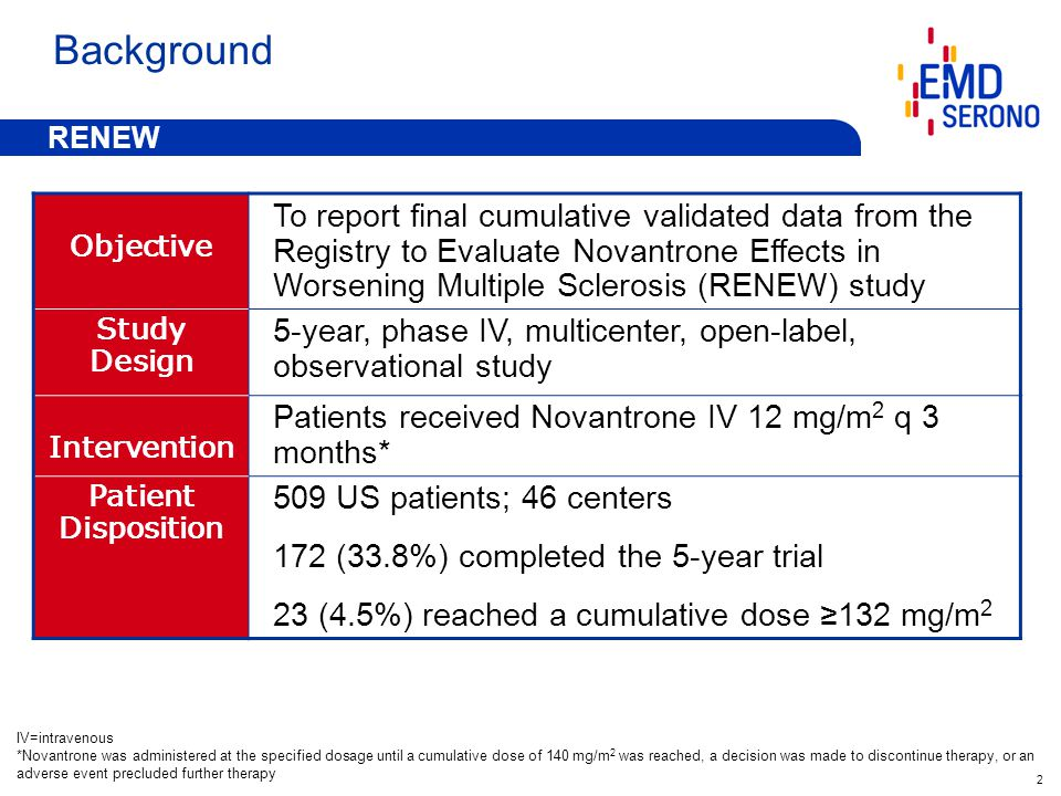 2 Background Objective To report final cumulative validated data from the Registry to Evaluate Novantrone Effects in Worsening Multiple Sclerosis (RENEW) study Study Design 5-year, phase IV, multicenter, open-label, observational study Intervention Patients received Novantrone IV 12 mg/m 2 q 3 months* Patient Disposition 509 US patients; 46 centers 172 (33.8%) completed the 5-year trial 23 (4.5%) reached a cumulative dose ≥132 mg/m 2 IV=intravenous *Novantrone was administered at the specified dosage until a cumulative dose of 140 mg/m 2 was reached, a decision was made to discontinue therapy, or an adverse event precluded further therapy RENEW