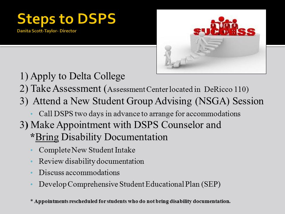 1) Apply to Delta College 2) Take Assessment ( Assessment Center located in DeRicco 110) 3) Attend a New Student Group Advising (NSGA) Session Call DSPS two days in advance to arrange for accommodations 3) Make Appointment with DSPS Counselor and *Bring Disability Documentation Complete New Student Intake Review disability documentation Discuss accommodations Develop Comprehensive Student Educational Plan (SEP) * Appointments rescheduled for students who do not bring disability documentation.