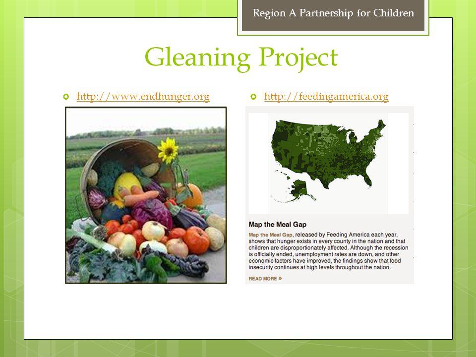 Gleaning Project  http://feedingamerica.org http://feedingamerica.org  http://www.endhunger.org http://www.endhunger.org Region A Partnership for Children