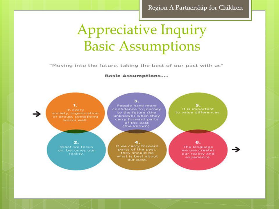 Appreciative Inquiry Basic Assumptions Region A Partnership for Children
