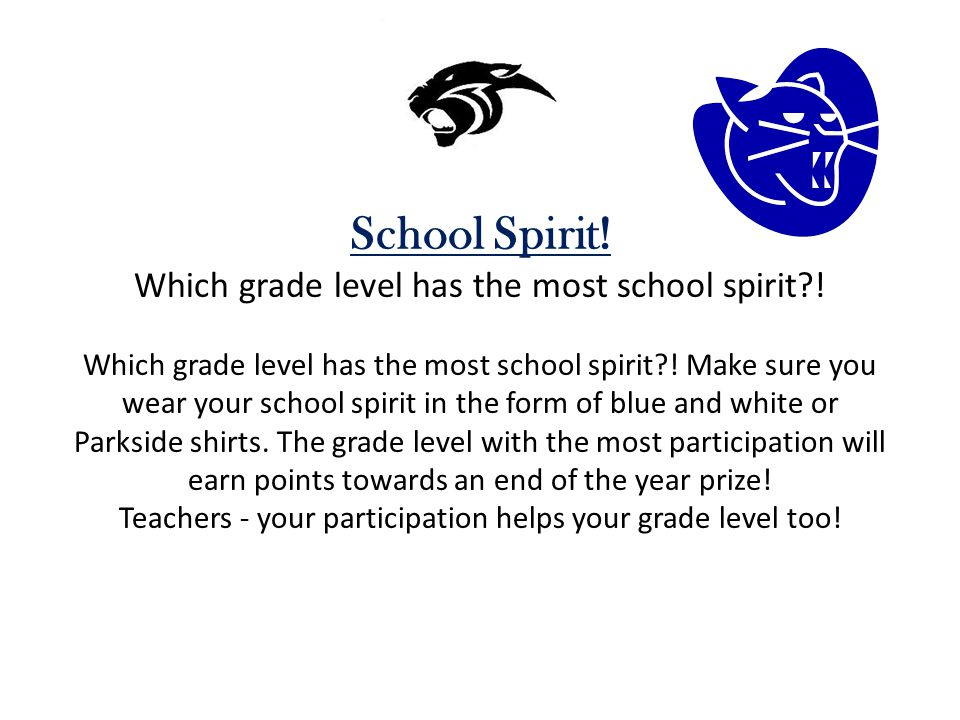School Spirit. Which grade level has the most school spirit .