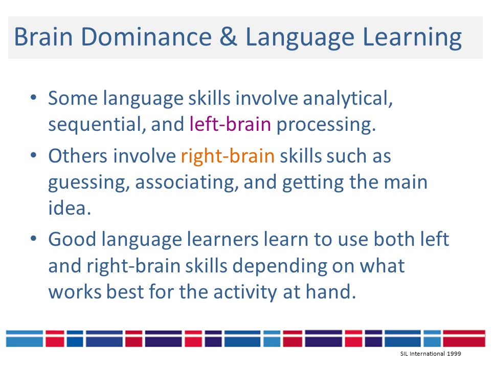 Brain Dominance & Language Learning Some language skills involve analytical, sequential, and left-brain processing.