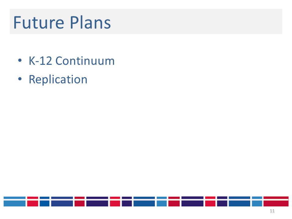 K-12 Continuum Replication Future Plans 11