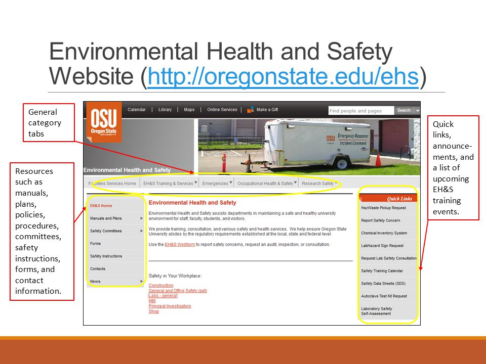 Environmental Health and Safety Website (http://oregonstate.edu/ehs)http://oregonstate.edu/ehs General category tabs Resources such as manuals, plans, policies, procedures, committees, safety instructions, forms, and contact information.