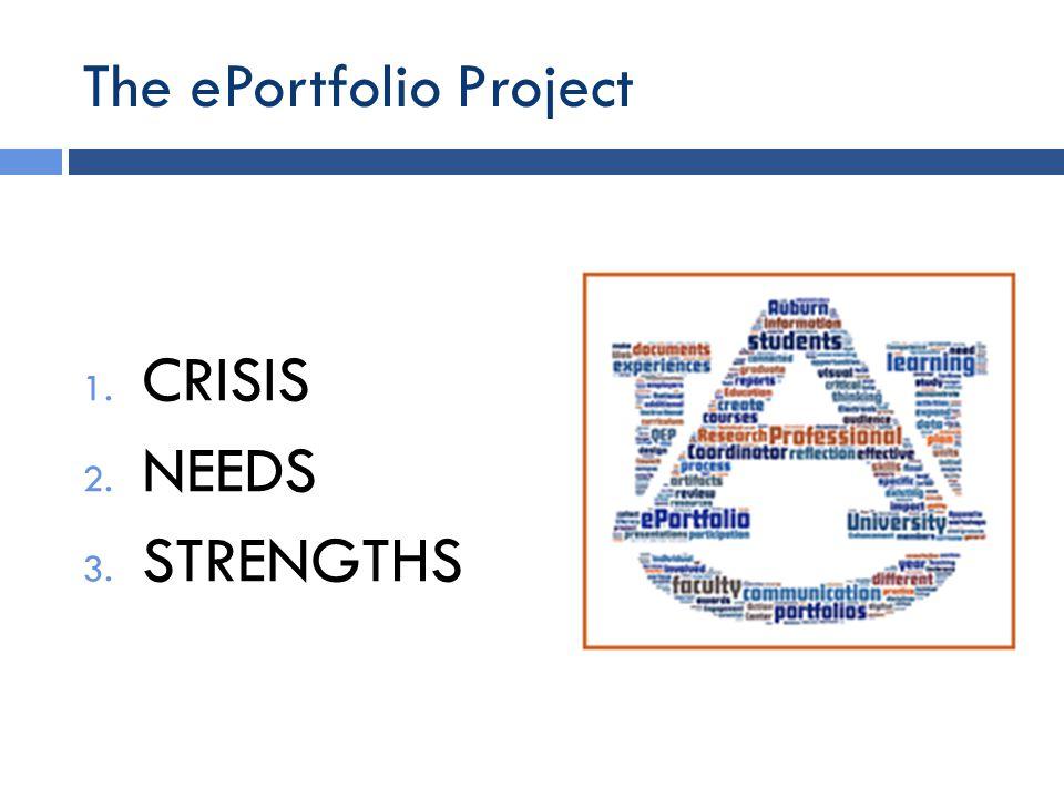 The ePortfolio Project 1. CRISIS 2. NEEDS 3. STRENGTHS