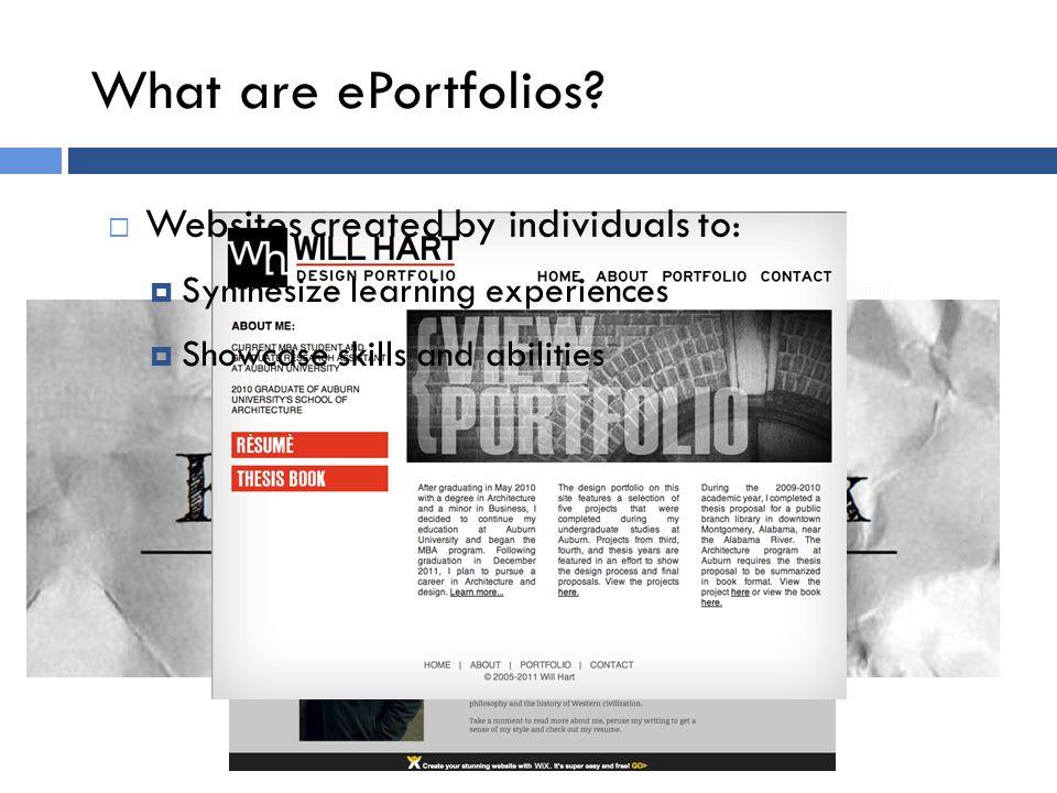 What are ePortfolios.