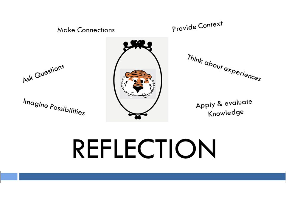 REFLECTION Ask Questions Imagine Possibilities Provide Context Apply & evaluate Knowledge Make Connections Think about experiences