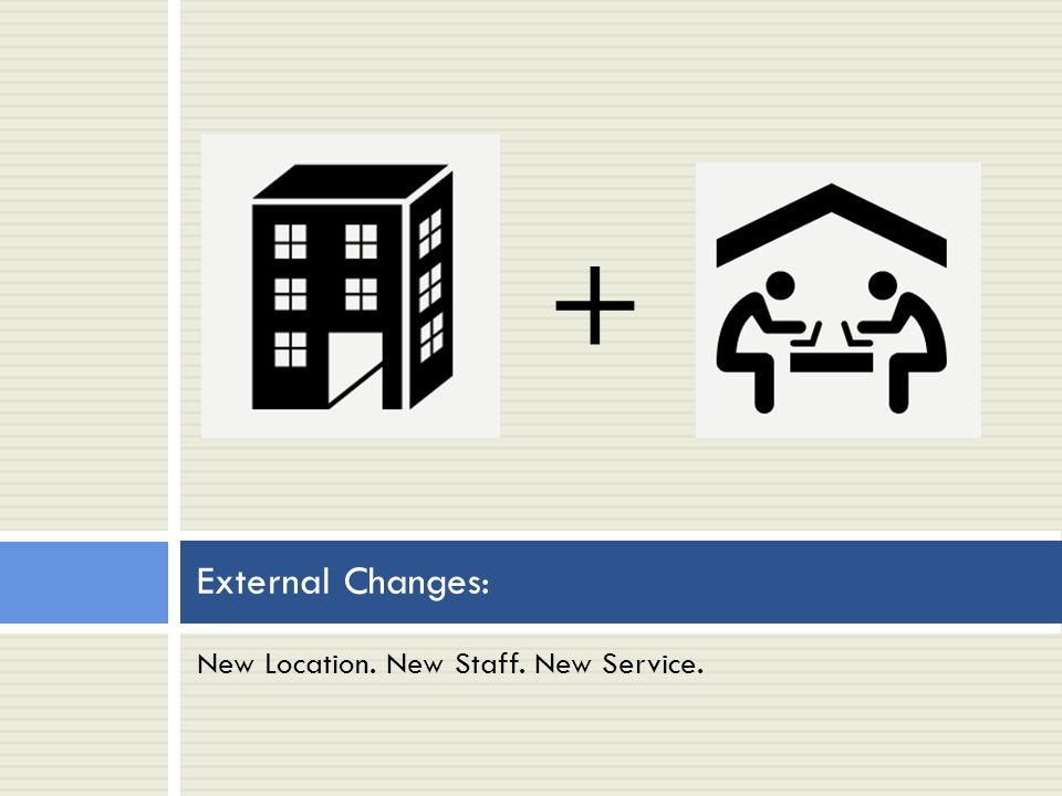New Location. New Staff. New Service. External Changes: +