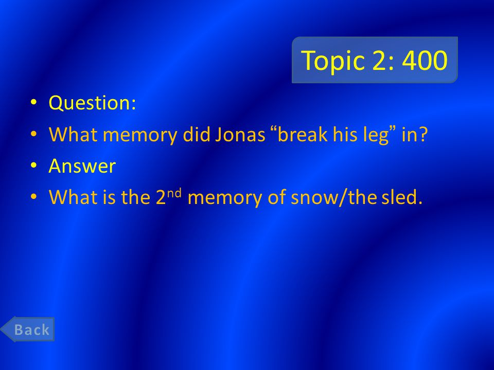 Topic 2: 600 Question: What was Jonas's first memory given to him in which he experienced pain.