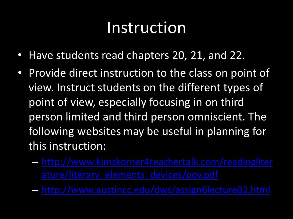 Instruction Have students read chapters 20, 21, and 22. Provide direct instruction to the class on point of view. Instruct students on the different t