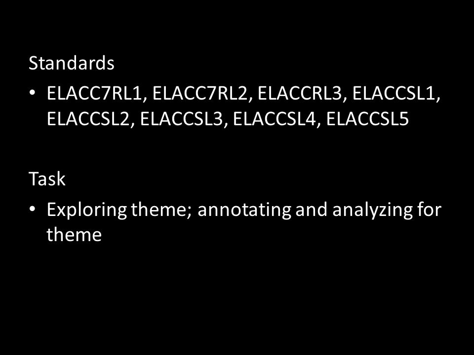 Standards ELACC7RL1, ELACC7RL2, ELACCRL3, ELACCSL1, ELACCSL2, ELACCSL3, ELACCSL4, ELACCSL5 Task Exploring theme; annotating and analyzing for theme