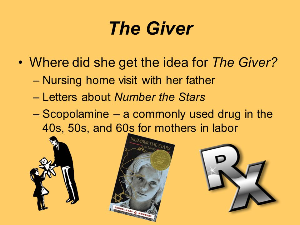 The Giver Where did she get the idea for The Giver? –Nursing home visit with her father –Letters about Number the Stars –Scopolamine – a commonly used