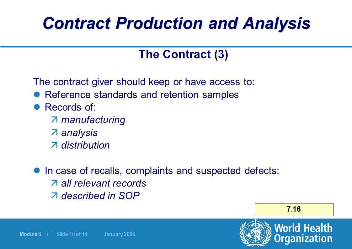 Module 6 | Slide 10 of 14 January 2006 7.16 Contract Production and Analysis The Contract (3) The contract giver should keep or have access to: Refere