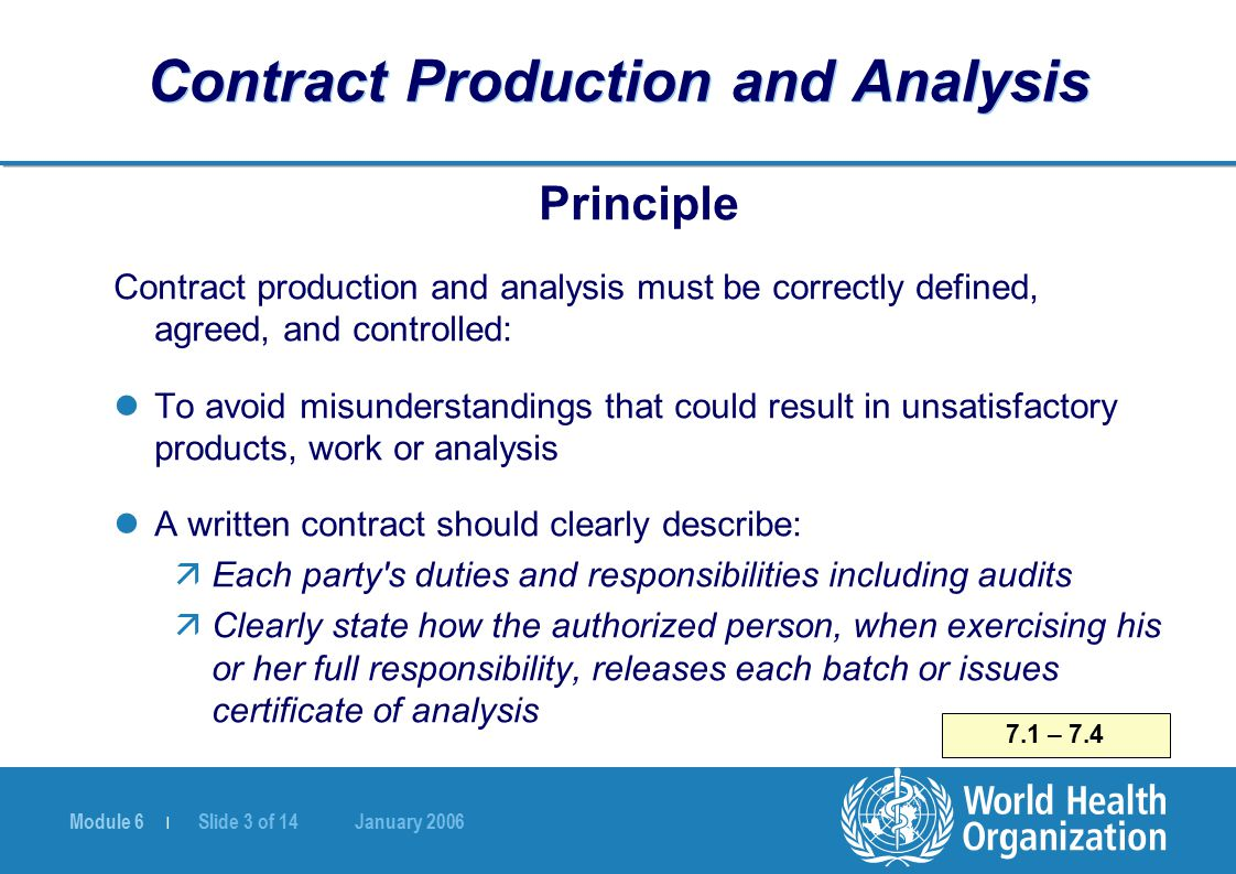 Module 6 | Slide 3 of 14 January 2006 7.1 – 7.4 Contract Production and Analysis Principle Contract production and analysis must be correctly defined,