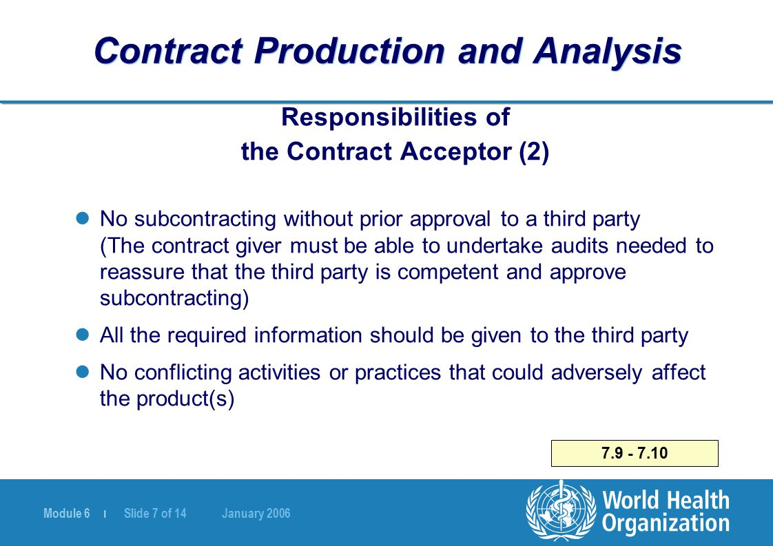 Module 6 | Slide 7 of 14 January 2006 7.9 - 7.10 Contract Production and Analysis Responsibilities of the Contract Acceptor (2) No subcontracting with