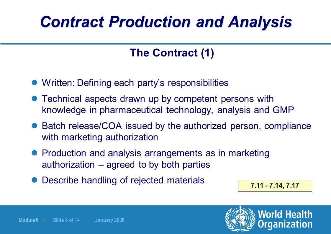 Module 6 | Slide 8 of 14 January 2006 7.11 - 7.14, 7.17 Contract Production and Analysis The Contract (1) Written: Defining each party's responsibilit