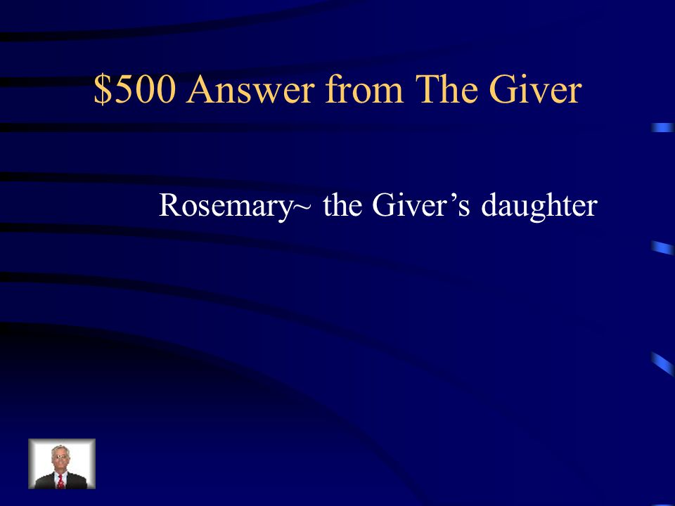 $500 Question from The Giver Who was the Receiver before Jonas and why was she special in the story