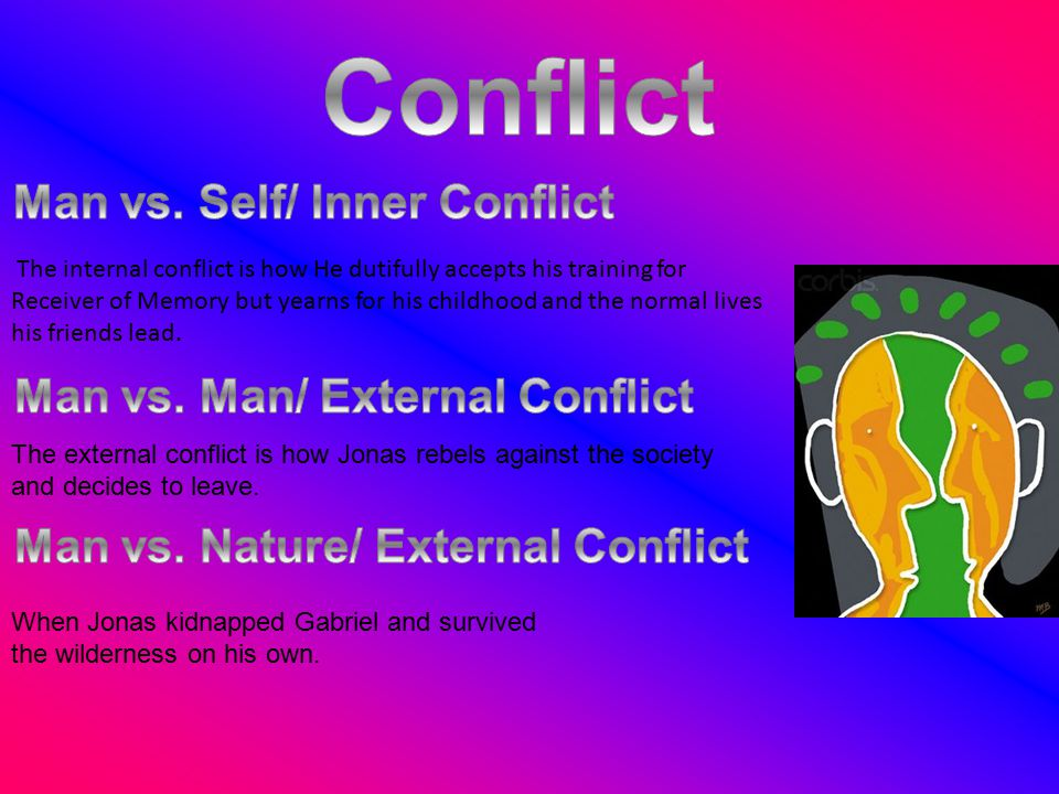 The external conflict is how Jonas rebels against the society and decides to leave. When Jonas kidnapped Gabriel and survived the wilderness on his ow