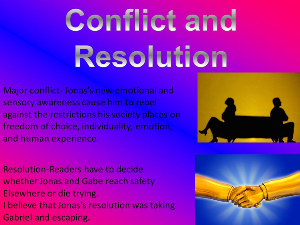 Resolution-Readers have to decide whether Jonas and Gabe reach safety Elsewhere or die trying. I believe that Jonas's resolution was taking Gabriel an