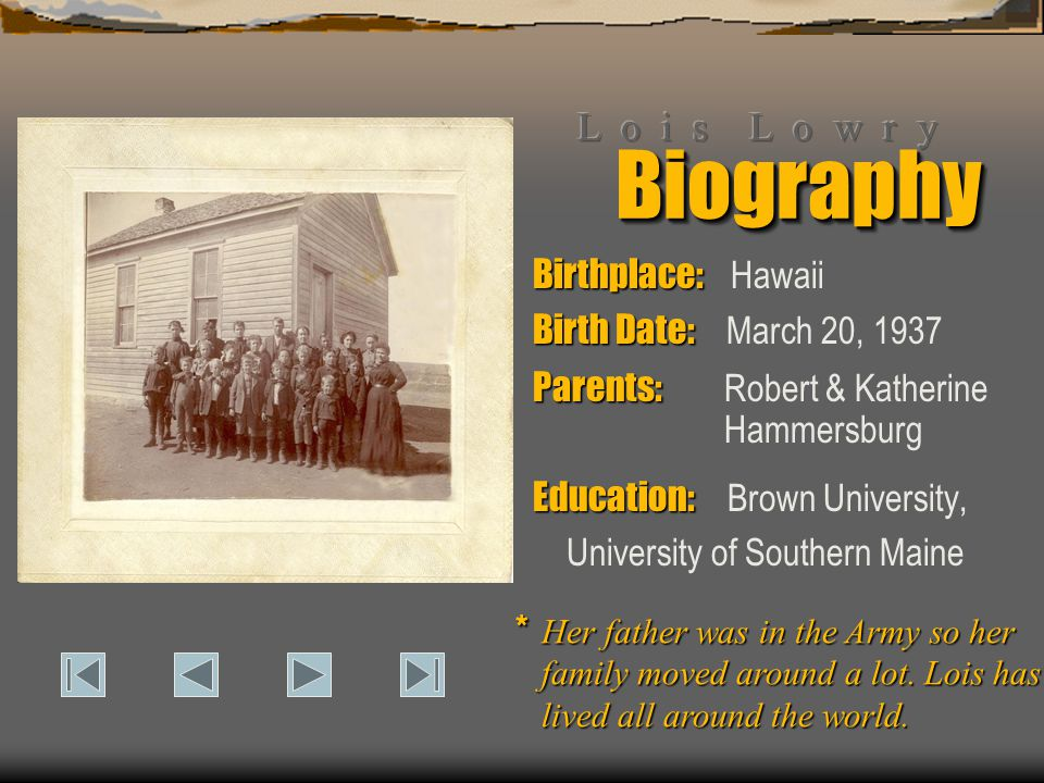 BiographyBiography Birthplace: Birthplace: Hawaii Birth Date: Birth Date: March 20, 1937 Parents: Parents: Robert & Katherine Education: Education: Br