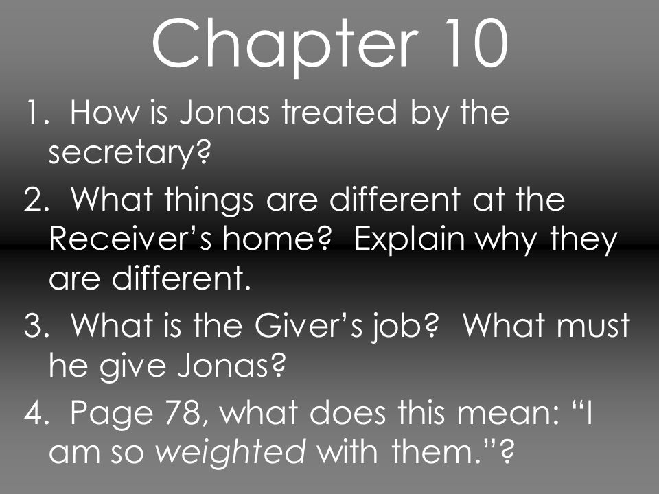 Chapter 11 1.What is Jonas' first memory. What is Jonas' reaction.