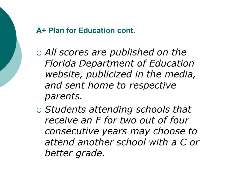 A+ Plan for Education cont.