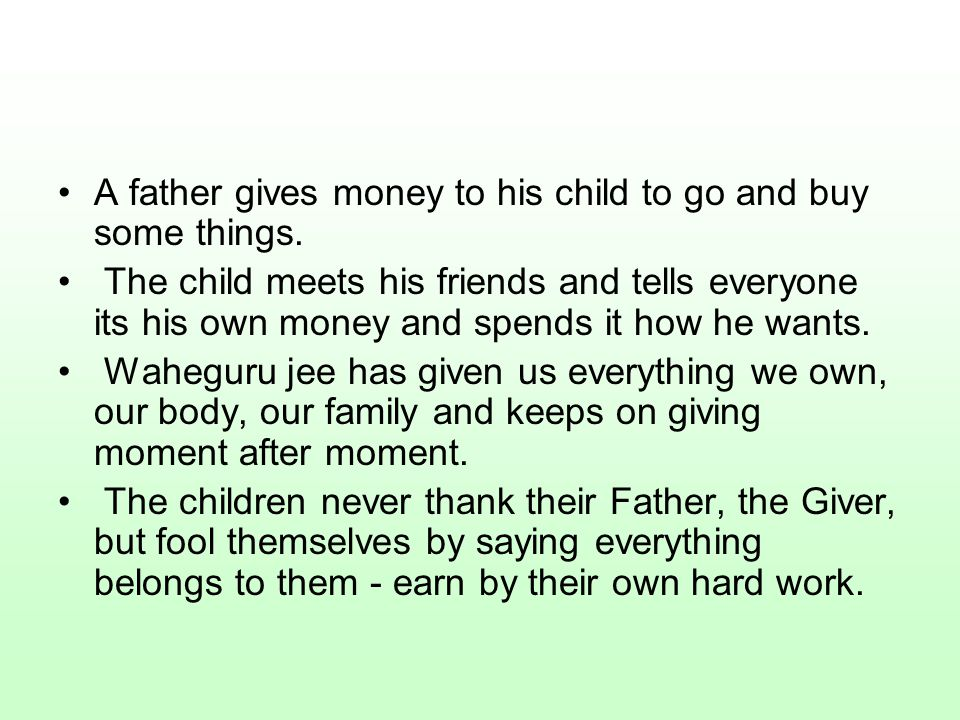 A father gives money to his child to go and buy some things.