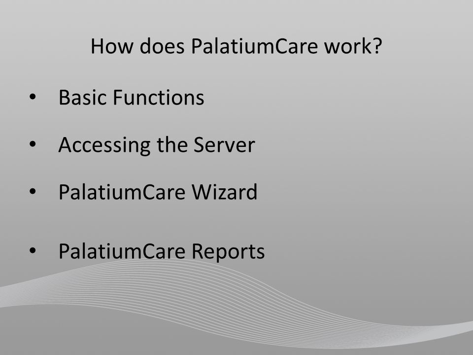 Basic Functions Resident activates device To view a complete list of devices, visit www.PalatiumCare.comwww.PalatiumCare.com