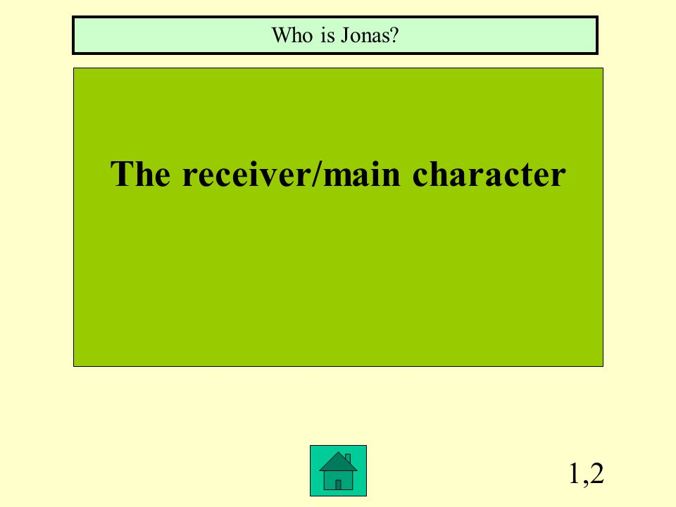 1,2 The receiver/main character Who is Jonas?