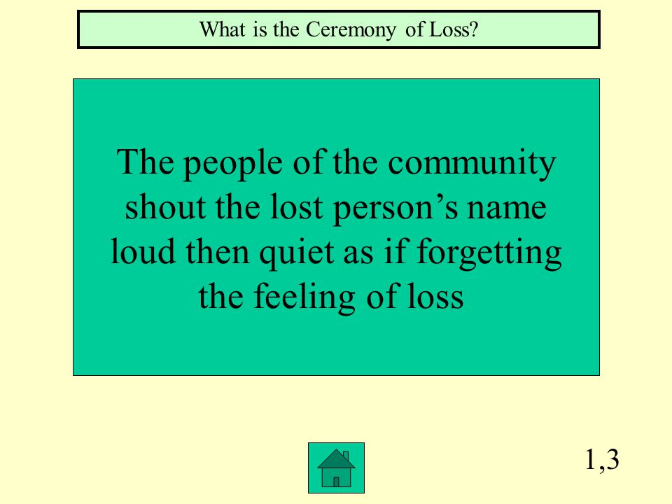 1,3 The people of the community shout the lost person's name loud then quiet as if forgetting the feeling of loss What is the Ceremony of Loss?