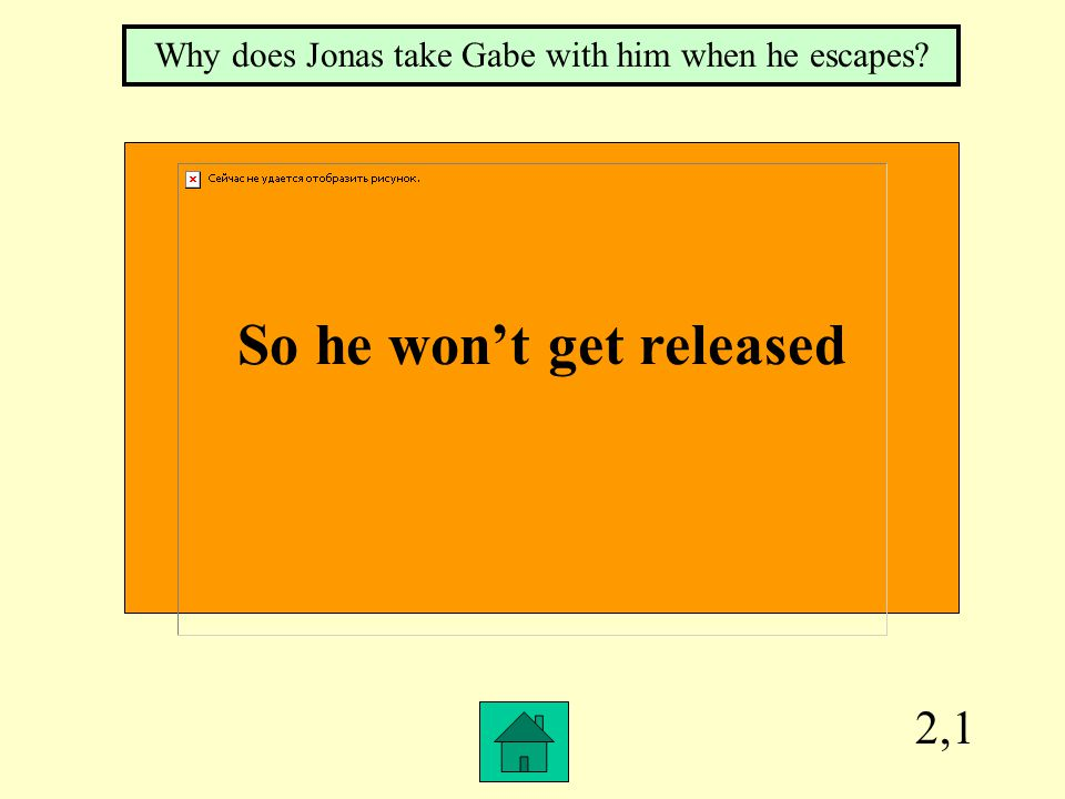 2,1 So he won't get released Why does Jonas take Gabe with him when he escapes?