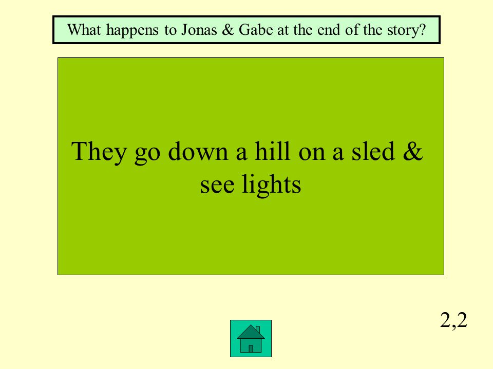 2,2 They go down a hill on a sled & see lights What happens to Jonas & Gabe at the end of the story?
