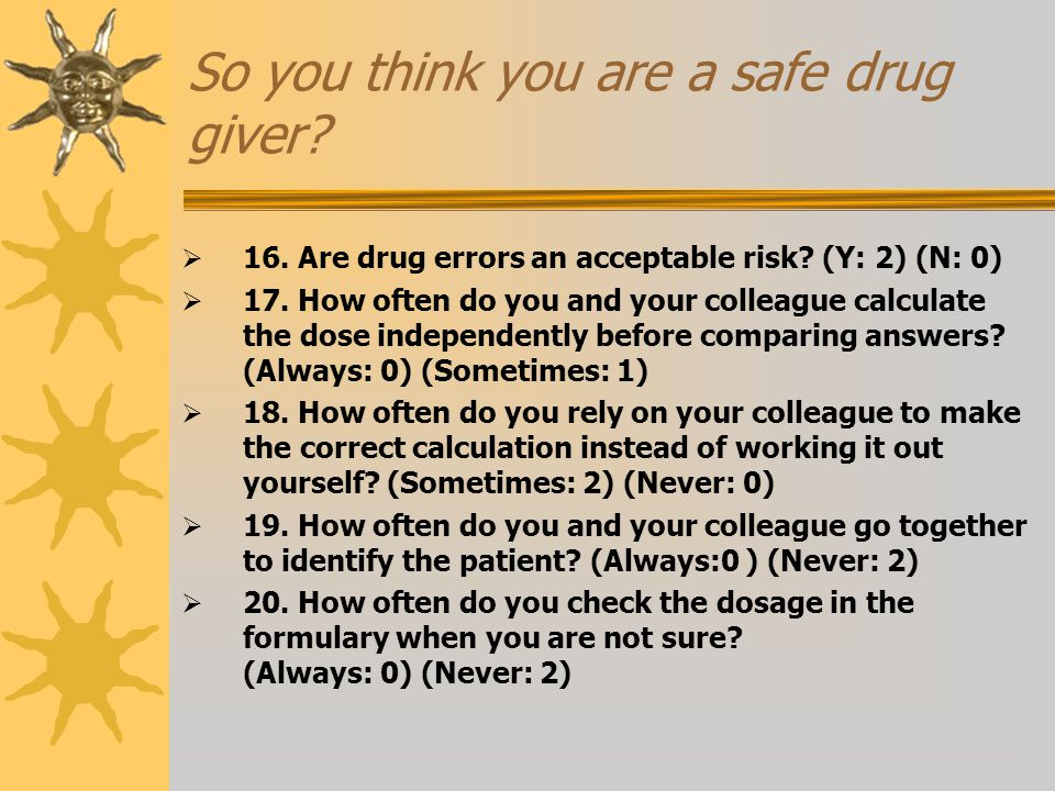 So you think you are a safe drug giver. 16. Are drug errors an acceptable risk.