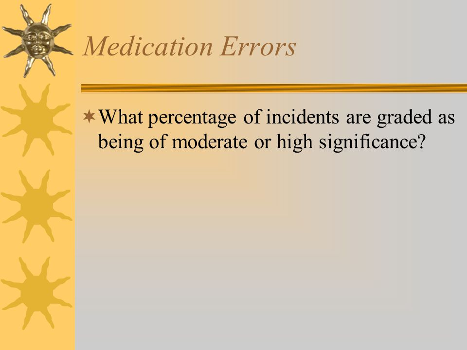 Medication Errors  What percentage of incidents are graded as being of moderate or high significance?