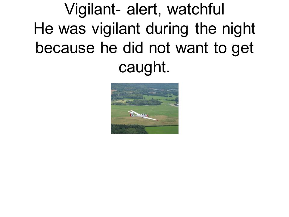 Vigilant- alert, watchful He was vigilant during the night because he did not want to get caught.
