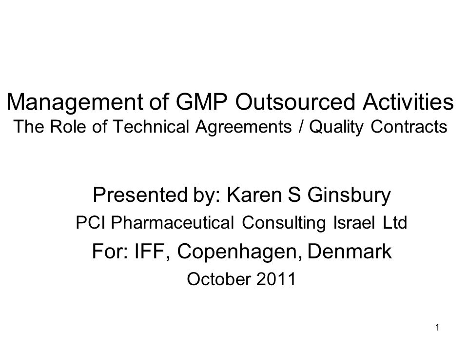 FDA on Quality Agreements Identification of the contract site address, building, and equipment/line, and services/materials to be provided Description of the drug, its intended use: all specifications Provide for periodic audits to CGMP and contract specifics Commitment to share regulatory inspection findings Procedures for change control new equipment, facility modifications, change in key personnel, change in SOPs and test methods Full disclosure of all errors, deviations, changes, OOS results, investigations, as well as adverse events that did or might impact drug 12