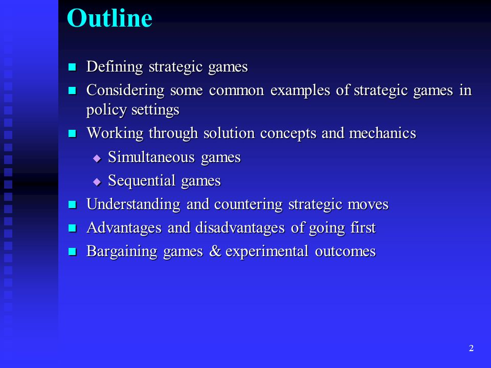 3 Defining Strategic Decisions In narrow sense used here, strategic decisions (games) mean In narrow sense used here, strategic decisions (games) mean  Decisions where optimal strategies of 2 (or more) players are actively interdependent  Optimal strategy depends on predictions of other participant(s) best strategy  Not just playing against nature or world with fixed prices, probabilities, behavior  Think chess, poker, or rock-paper-scissors, not roullette