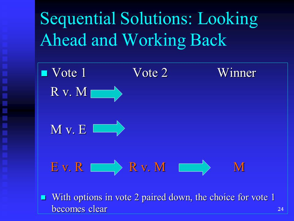 Sequential Solutions: Looking Ahead and Working Back Vote 1 Vote 2Winner Vote 1 Vote 2Winner R v.