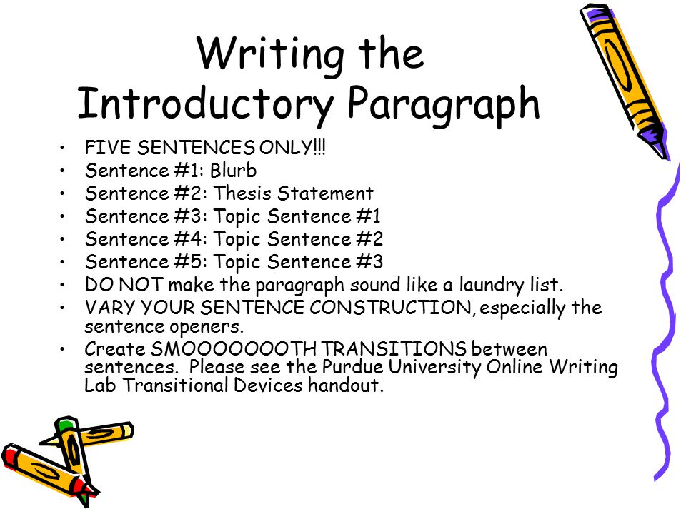 Writing the Introductory Paragraph FIVE SENTENCES ONLY!!! Sentence #1: Blurb Sentence #2: Thesis Statement Sentence #3: Topic Sentence #1 Sentence #4: