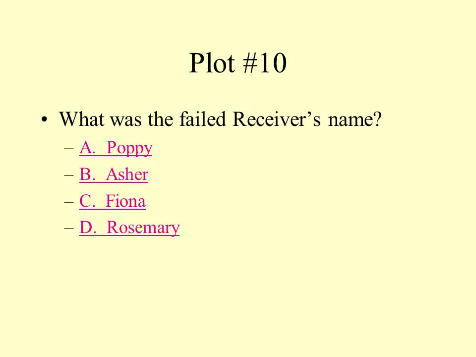 False This answer is incorrect. Please return to Plot #9 and try again. Try Again.