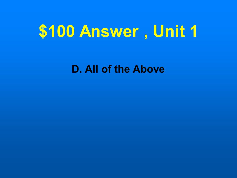 $100 Question, Unit 1 Which is an example of an archetype.
