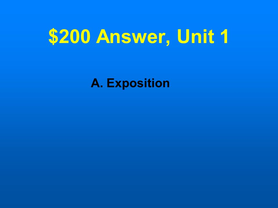 $200 Question, Unit 1 The departure stage in the Hero's journey archetype is similar to the __________in a plot.