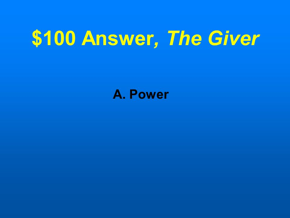 "$100 Question,The Giver The wall speaker in The Giver's room is a symbol of ______ because no one else has an ""off"" button. A.Power B.Wealth C.Family"