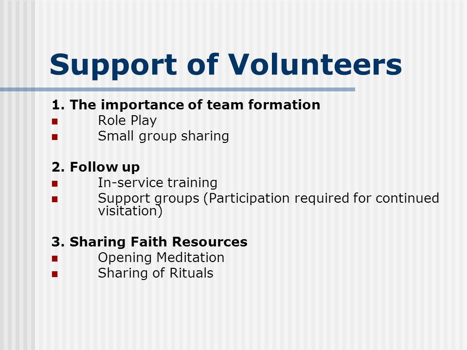 Support of Volunteers 1.The importance of team formation Role Play Small group sharing 2.