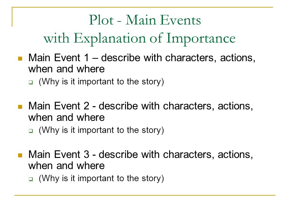Plot - Main Events with Explanation of Importance Main Event 1 – describe with characters, actions, when and where  (Why is it important to the story