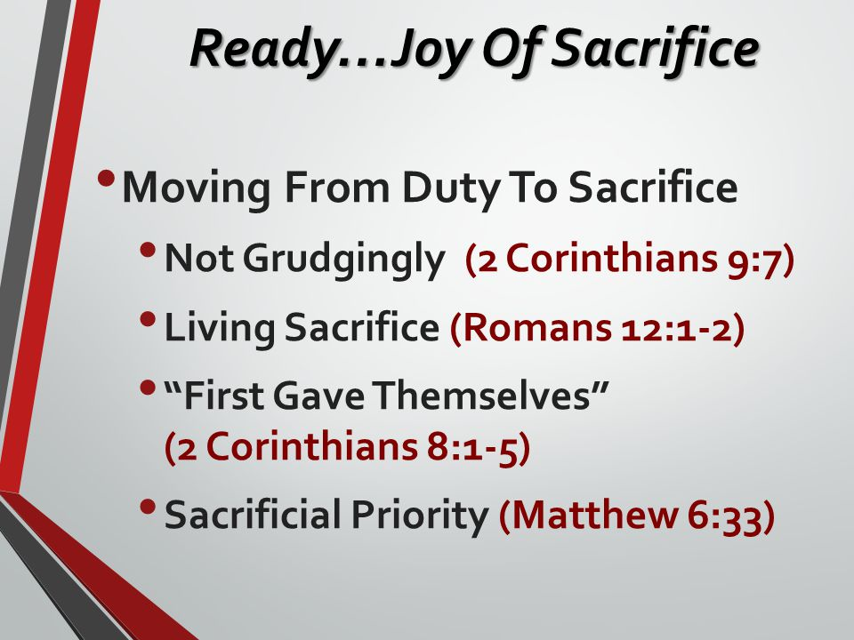 "Moving From Duty To Sacrifice Not Grudgingly (2 Corinthians 9:7) Living Sacrifice (Romans 12:1-2) ""First Gave Themselves"" (2 Corinthians 8:1-5) Sacrif"