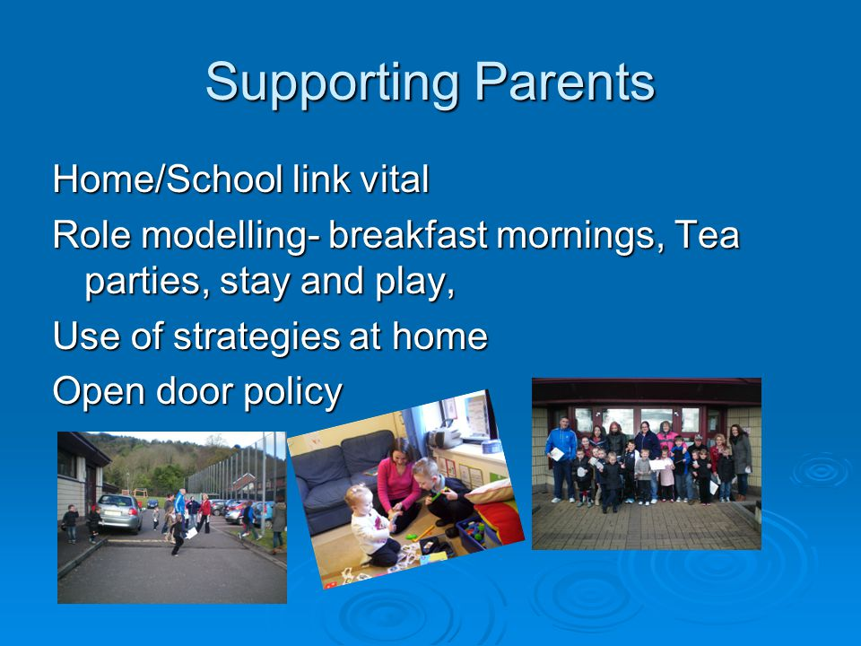 Supporting Parents Home/School link vital Role modelling- breakfast mornings, Tea parties, stay and play, Use of strategies at home Open door policy