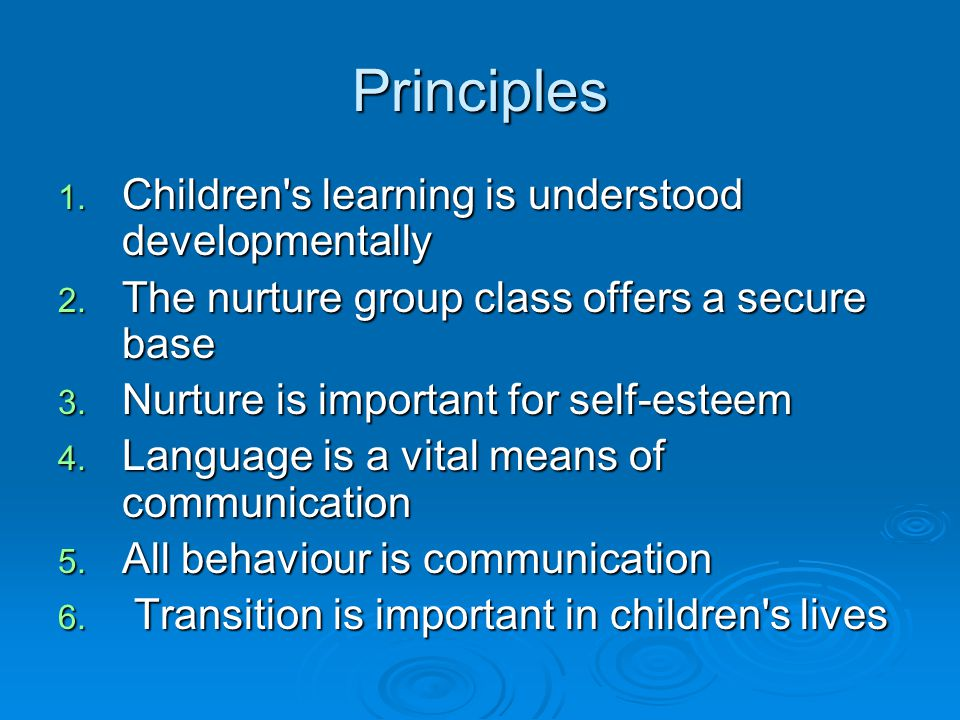 Principles 1. Children s learning is understood developmentally 2.